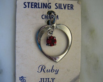 Vintage Sterling Silver & Faux Ruby Heart Charm