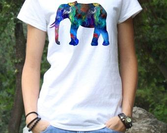 Elephant T-Shirt - Art Tee - Fashion Tee - White shirt - Printed shirt - Women's T-shirt