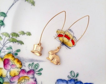 Alice in Wonderland, rabbit and mad hatter gold plated earrings