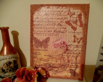 Shabby Chic Canvas wal art - vintage look