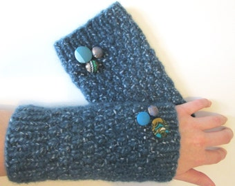 Warmers/cuffs/pulse warmer/wool/angora/warming/winter/petrol with related buttons