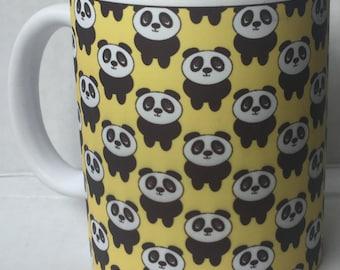 Cute Quirky Pop Art Mug, Yellow  Panda  Ceramic Tea Coffee Mug, Panda Gift,  Panda Mug, Unique Kitsch Gift, Gift under 10, Panda Lover