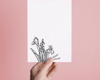 Handmade / Hand drawn Spring Floral Greetings Card