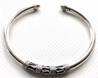 Bali Rope Style Sterling Silver Oxidised Cuff Bangle