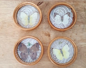 Vintage butterfly coasters with wood and lace, spring decor coasters