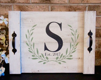 Customized Serving Tray with Wreath//Hand Painted//Distressed//House Warming Gift//Newlywed Gift//Shower Gift