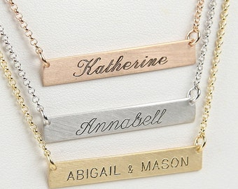 Nameplate Necklace, Personalized Bar 38 x 6 mm, Gift for Mother,Children's Initials, Coordinates,Dates, Symbols, Custom Italian Jewelry 0169