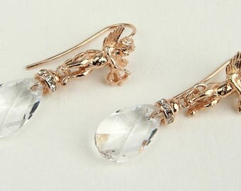 Swarovski Earrings, Swarovski Drops, Rose Gold Earrings in Sterling Silver 925,Handcrafted in Italy,High Fashion Earrings, Gift for Her 1022
