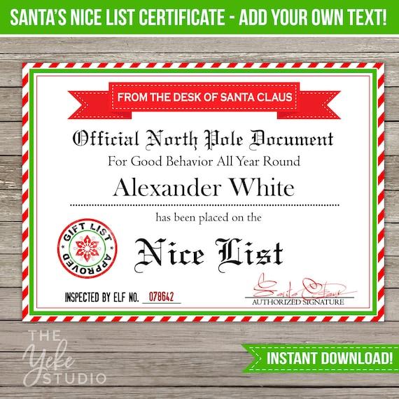 Nice list certificate santa letter christmas gift tags for Nice list santa letter