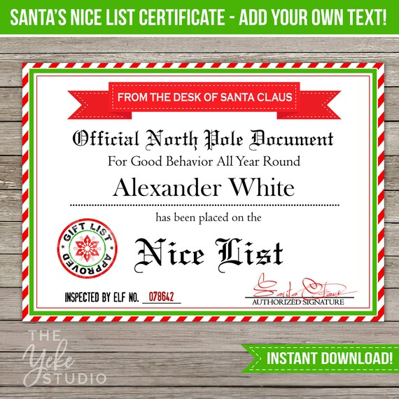 Nice List Certificate | Santa Letter | Christmas Gift Tags | Santa ...