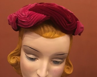 Vintage 50s | Ken Blair | Pink and Burgandy Velvet Pancake Hat with Free Shipping