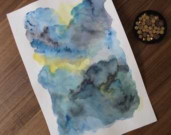 Handmade Large Blue Grey Abstract Original Watercolor Painting Unframed Art On Watercolor Paper by Allie Bigoness