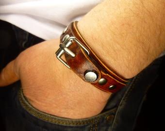 Custom mens bracelet brown bracelet leather cuff friendship bracelet Bracelet rivets Bracelet buckle
