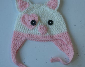 Crochet kitty-cat beanie with pink ties 1-2 year old