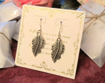 Bridal party gift, bridesmaid gift, maid of honor gift, matron of honor gift, feather earrings, thank you gift