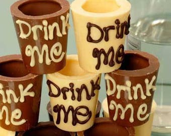 Chocolate Shot Glass with Personlised Names for Weddings and Parties