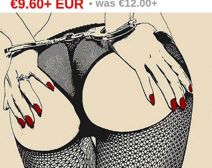 Erotic Art 200gsm poster - Cuffs and fishnets, bdsm artwork, sexy tied girl bondage, naked body artwork, hot conte style print High Res...