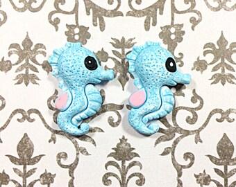 Blue Kawaii seahorse cabochons