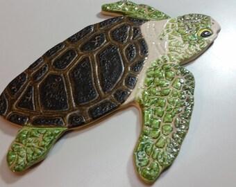 Medium Textured  Sea Turtle Ceramic Tile for Mosaic