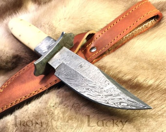 "Handmade knife, damascus knife, hunting knife ""White wolf"". 14.156"