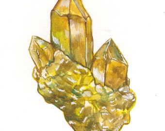 Art Prints - Citrine - Art Prints, Watercolor Print, Watercolor Illustration, Uncut Gemstones, Art Series, Fine Art Prints, Wall Art