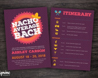 Nacho Average Bach Fiesta Bachelorette Party Weekend Invitation with Full Itinerary
