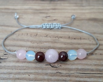 Fertility bracelet healthy pregnancy bracelet rose quartz bracelet moonstone bracelet garnet bracelet yoga jewelry for women gift for her