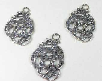 3 ANTIQUE SILVER OM Charms