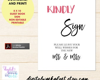 Kindly Sign Guest Book Wedding Sign, Guest Book Printable, Wedding Printable Sign, Mr and Mrs Sign, PDF Instant Download, Calligraphy