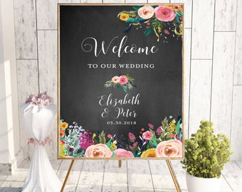 Welcome To Our Wedding, Welcome Wedding Sign, Printable Welcome Sign, Welcome Sign, Custom Welcome Sign, Floral,Boho Chic Wedding,Chalkboard