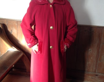 Lovely Upcycled 1980s warm red coat . Mid calf. Size 12.