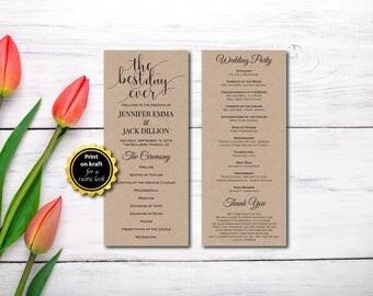 Wedding Program, The Best Day Ever, Kraft Program, Wedding Ceremony, Template, EDITABLE PDF, DIY Printable, Digital, Instant Download E126A