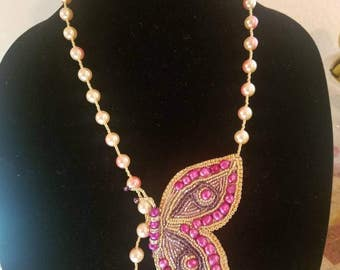 Bead embroidery necklace butterfly