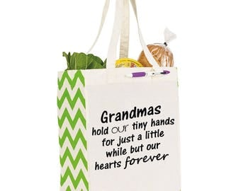 Grandmas in our hearts forever reusable tote, Mothers Day Gift, Gift for Grandma, Reuseable tote, grocery bag, gift, Mothers Day