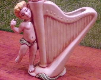 Vintage Child with Harp Vase, Vintage Victorian Vase, Child with Harp Figurine, Victorian Figurine, Folk Vase, Rustic, Primitive, Cottage