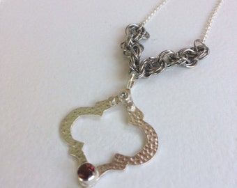 Moroccan/ Art Deco inspired Silver Pendant W/ Garnet/Stainless Steel Chainmaille Rosettes and a Silver Chain