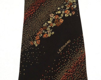 Tie LEONARD Brown/floral 100% silk Made in Italy