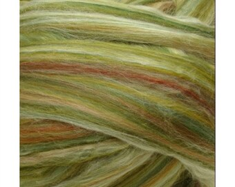 CLEARANCE Ashland Bay Merino Silk Blend Combed Top for Spinning or Felting, merino silk spinning fiber, silk top, merino roving - Green 4 oz
