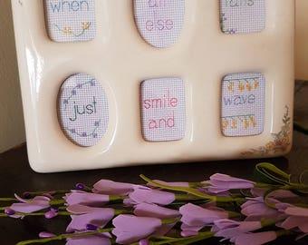 When All Else Fails Just Smile and Wave framed cross stitch in vintage ceramic frame