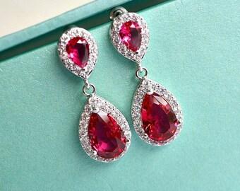 Cubic Zirconia Ruby Teardrop Chandelier Bridal Earrings, Red Ruby Wedding Earrings, Siam Earrings, Red CZ Crystal Drop Bridesmaid Earrings