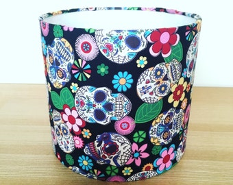 Handmade Fabric Lampshade. Mexican day of the dead / Sugar Skulls