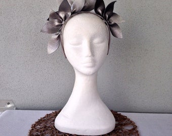 Ladies pewter silver leather crown headband fascinator