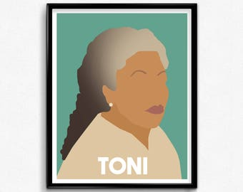 Toni Morrison Minimalist Art Print- Inspiring Women, Feminist Portrait
