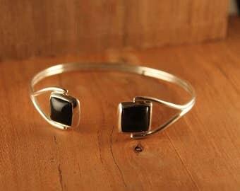 Sterling Silver Onyx Cabochon Bracelet