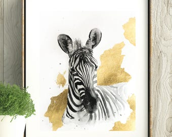 Original Mixed Media Animal Portrait, Watercolor Zebra Painting with Gold Leaf