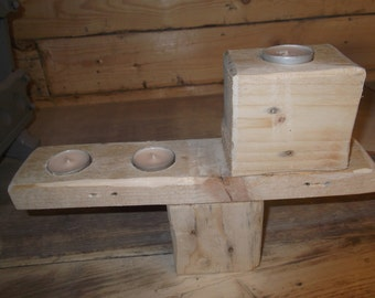 solid wood tea light candle holder