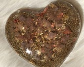 ON SALE!! Rose Quartz Orgone Heart, Resin Heart with Orgone Energy, Heart Orgonite for Love, Handmade Heart Shaped Orgone Generator