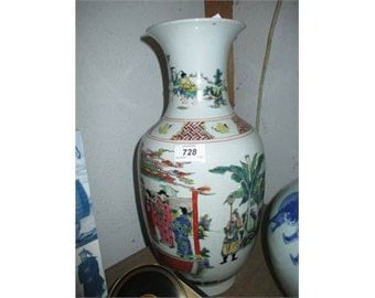 Chinese baluster form vase in Canton style decorated with a group of figures