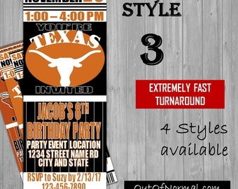 Texas Longhorns Themed Birthday Invitation Tickets - Football basketball college Birthday Invitations -Personalized invites!