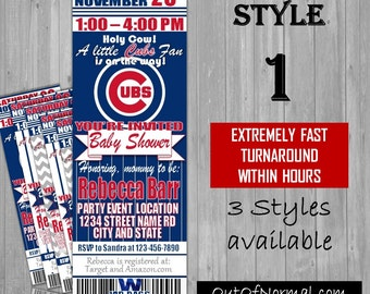 Chicago Cubs Themed Baby Shower Invitation Tickets - world series champions! Baseball Shower Party Invitations invites! New Mom, expecting